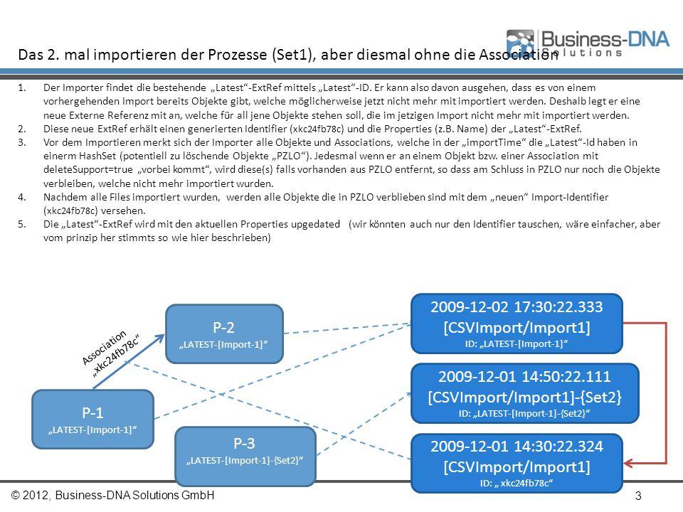 © 2012, Business-DNA Solutions GmbH 3 Das 2. mal importieren der Prozesse (Set1), aber diesmal ohne die Association 1.Der Importer findet die bestehen