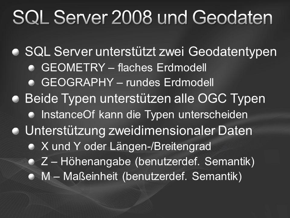 SQL Server unterstützt zwei Geodatentypen GEOMETRY – flaches Erdmodell GEOGRAPHY – rundes Erdmodell Beide Typen unterstützen alle OGC Typen InstanceOf