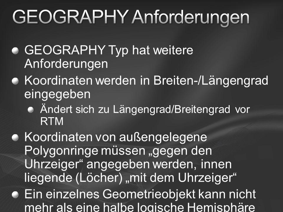 GEOGRAPHY Typ hat weitere Anforderungen Koordinaten werden in Breiten-/Längengrad eingegeben Ändert sich zu Längengrad/Breitengrad vor RTM Koordinaten