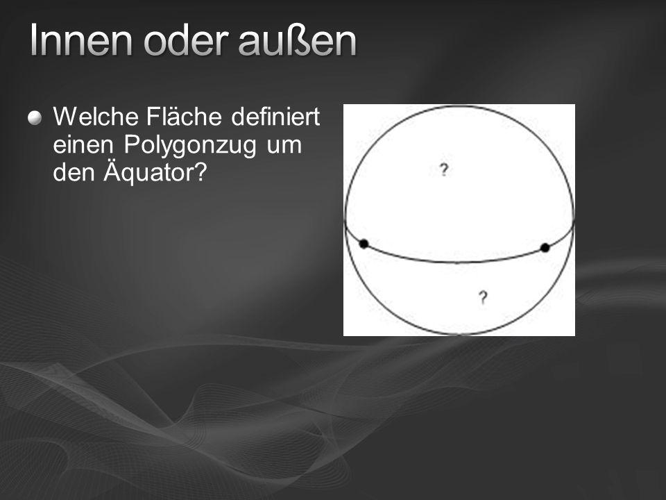 Welche Fläche definiert einen Polygonzug um den Äquator?