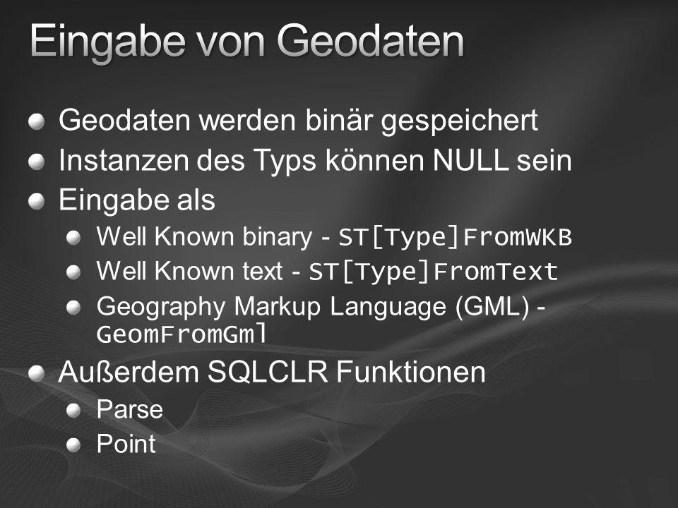 Geodaten werden binär gespeichert Instanzen des Typs können NULL sein Eingabe als Well Known binary - ST[Type]FromWKB Well Known text - ST[Type]FromTe