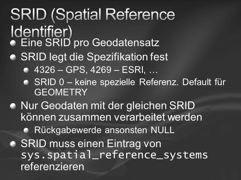 Eine SRID pro Geodatensatz SRID legt die Spezifikation fest 4326 – GPS, 4269 – ESRI, … SRID 0 – keine spezielle Referenz. Default für GEOMETRY Nur Geo