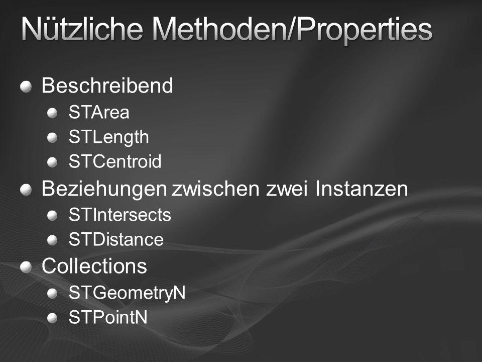 Beschreibend STArea STLength STCentroid Beziehungen zwischen zwei Instanzen STIntersects STDistance Collections STGeometryN STPointN