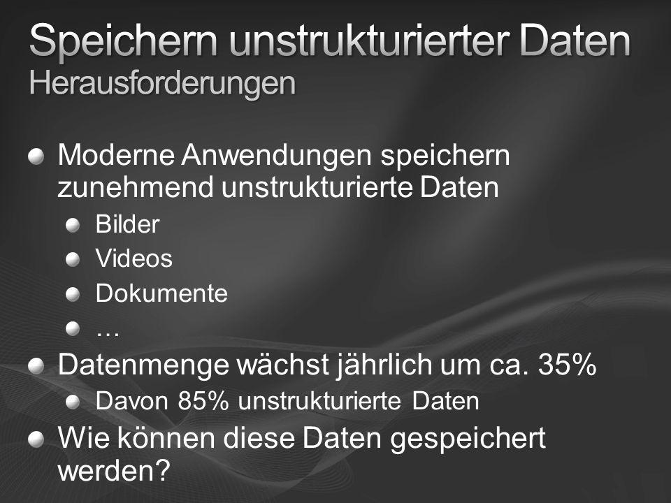 Moderne Anwendungen speichern zunehmend unstrukturierte Daten Bilder Videos Dokumente … Datenmenge wächst jährlich um ca. 35% Davon 85% unstrukturiert