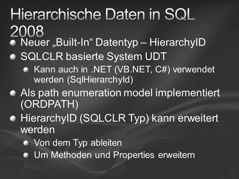 Neuer Built-In Datentyp – HierarchyID SQLCLR basierte System UDT Kann auch in.NET (VB.NET, C#) verwendet werden (SqlHierarchyId) Als path enumeration