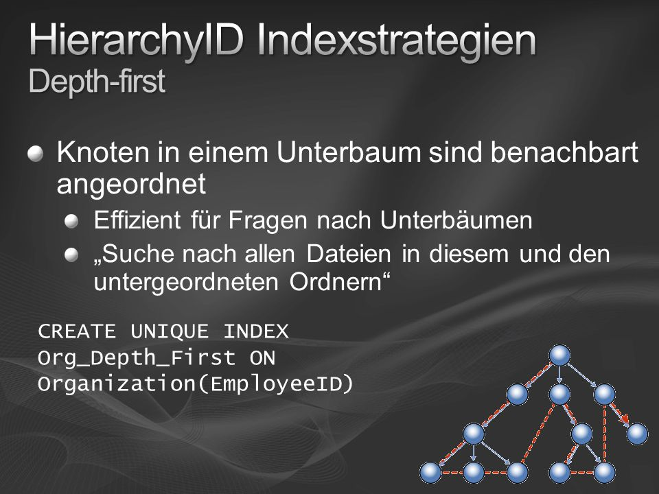 Knoten in einem Unterbaum sind benachbart angeordnet Effizient für Fragen nach Unterbäumen Suche nach allen Dateien in diesem und den untergeordneten Ordnern CREATE UNIQUE INDEX Org_Depth_First ON Organization(EmployeeID)