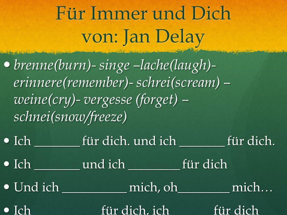 Für Immer und Dich von: Jan Delay brenne(burn)- singe –lache(laugh)- erinnere(remember)- schrei(scream) – weine(cry)- vergesse (forget) – schnei(snow/