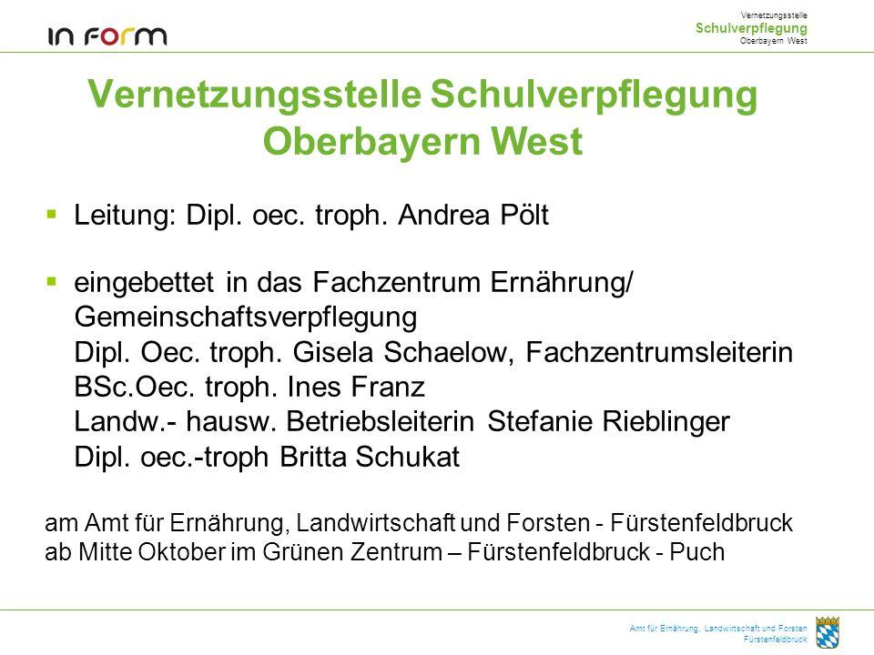 Amt für Ernährung, Landwirtschaft und Forsten Fürstenfeldbruck Vernetzungsstelle Schulverpflegung Oberbayern West Leitung: Dipl. oec. troph. Andrea Pö