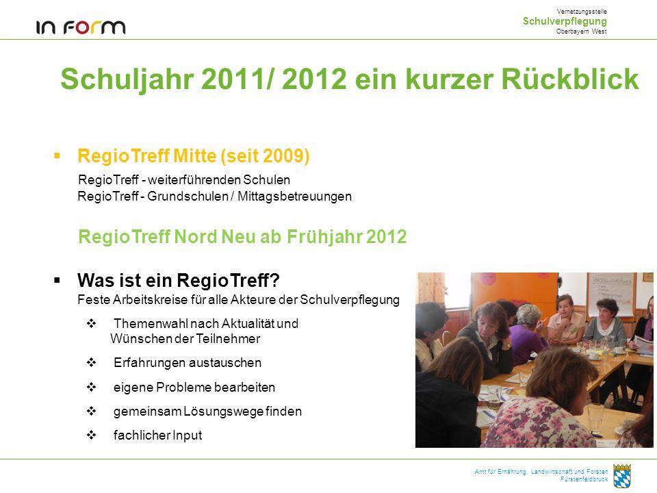 Schuljahr 2011/ 2012 ein kurzer Rückblick Vernetzungsstelle Schulverpflegung Oberbayern West Amt für Ernährung, Landwirtschaft und Forsten Fürstenfeld