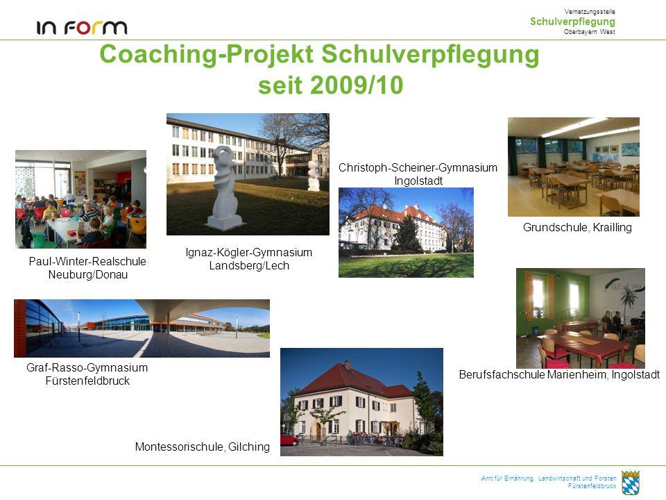 Coaching-Projekt Schulverpflegung seit 2009/10 Vernetzungsstelle Schulverpflegung Oberbayern West Amt für Ernährung, Landwirtschaft und Forsten Fürste
