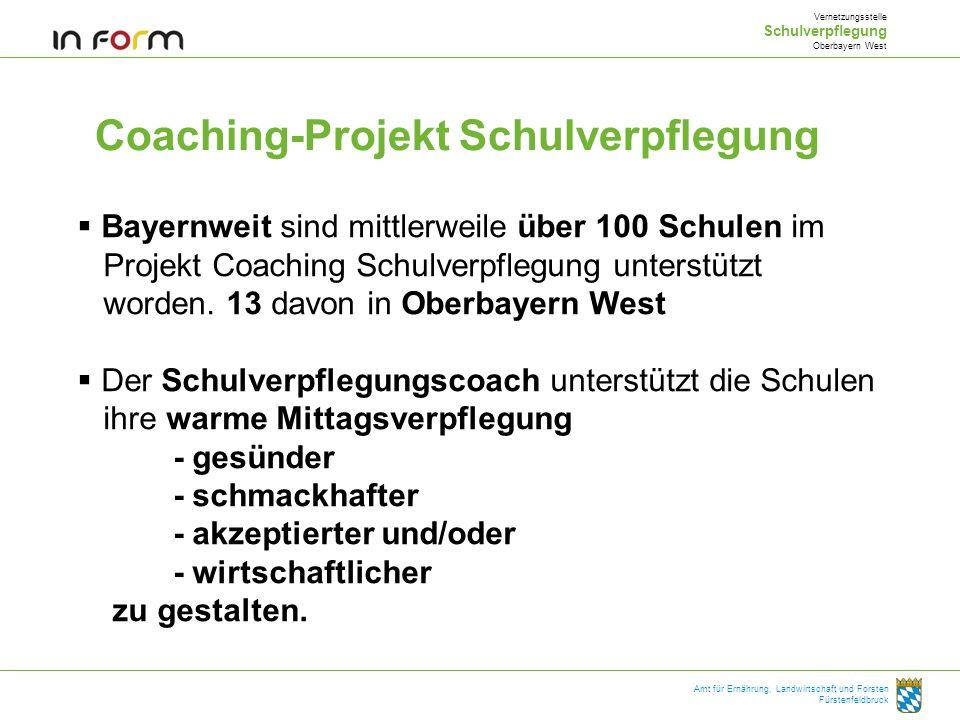 Coaching-Projekt Schulverpflegung Vernetzungsstelle Schulverpflegung Oberbayern West Amt für Ernährung, Landwirtschaft und Forsten Fürstenfeldbruck Ba