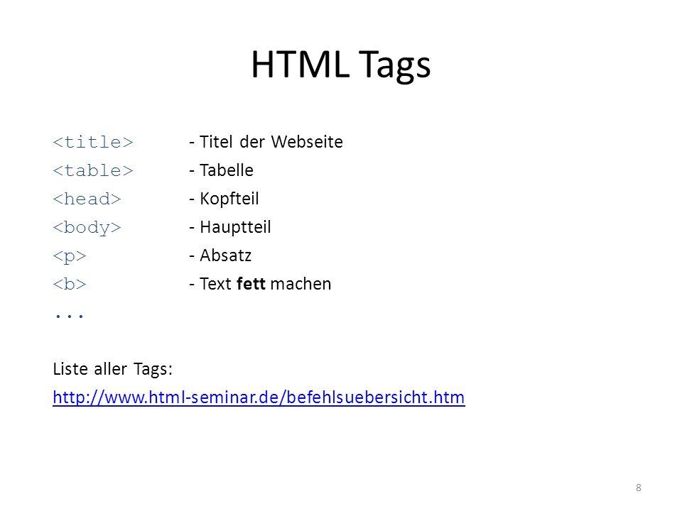 Voraussetzungen für eigene HTML Seite Schreibprogramm (Editor, Notepad++, …) Grundkenntnisse Browser für die Vorschau Vorteil: Editor mit Livevorschau (z.B.