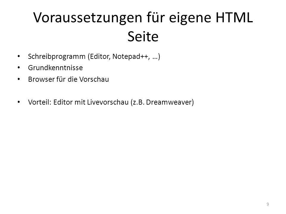 Voraussetzungen für eigene HTML Seite Schreibprogramm (Editor, Notepad++, …) Grundkenntnisse Browser für die Vorschau Vorteil: Editor mit Livevorschau