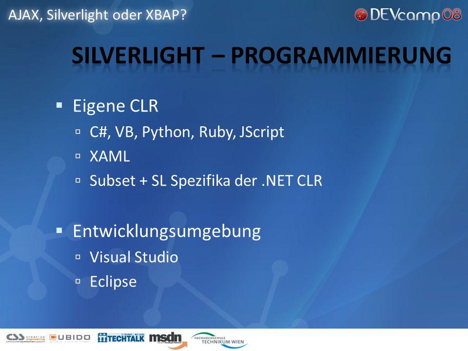 Eigene CLR C#, VB, Python, Ruby, JScript XAML Subset + SL Spezifika der.NET CLR Entwicklungsumgebung Visual Studio Eclipse AJAX, Silverlight oder XBAP