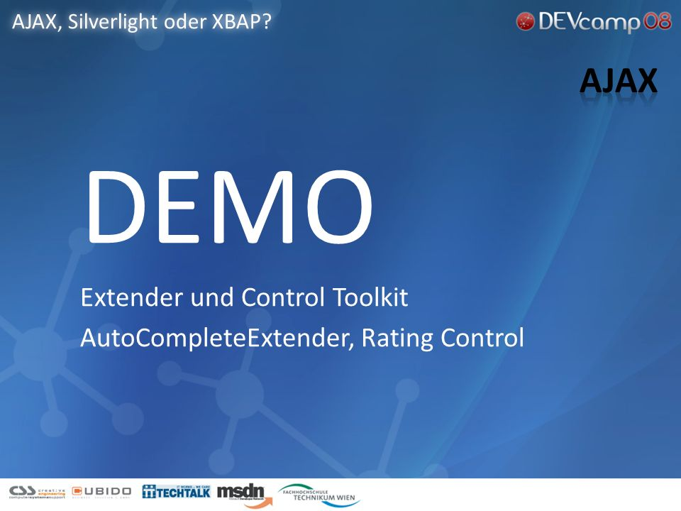 AutoCompleteExtender Rating AJAX, Silverlight oder XBAP.