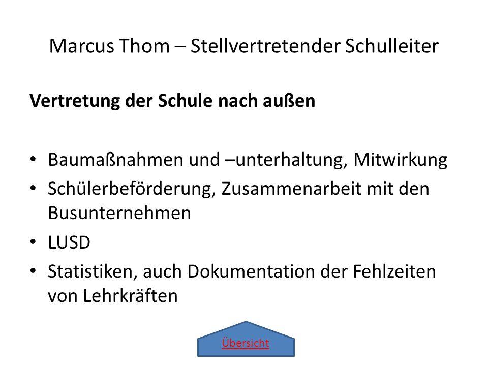Übersicht Marcus Thom – Stellvertretender Schulleiter Vertretung der Schule nach außen Baumaßnahmen und –unterhaltung, Mitwirkung Schülerbeförderung,