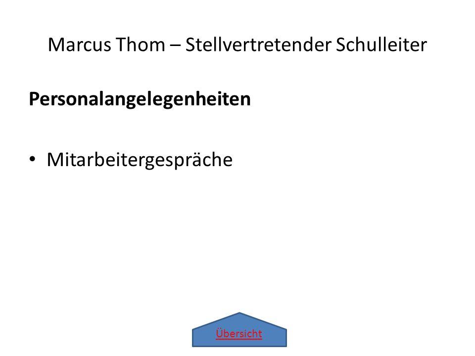 Übersicht Marcus Thom – Stellvertretender Schulleiter Personalangelegenheiten Mitarbeitergespräche