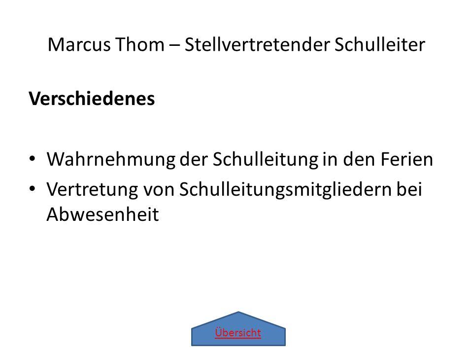 Übersicht Verschiedenes Wahrnehmung der Schulleitung in den Ferien Vertretung von Schulleitungsmitgliedern bei Abwesenheit Marcus Thom – Stellvertrete
