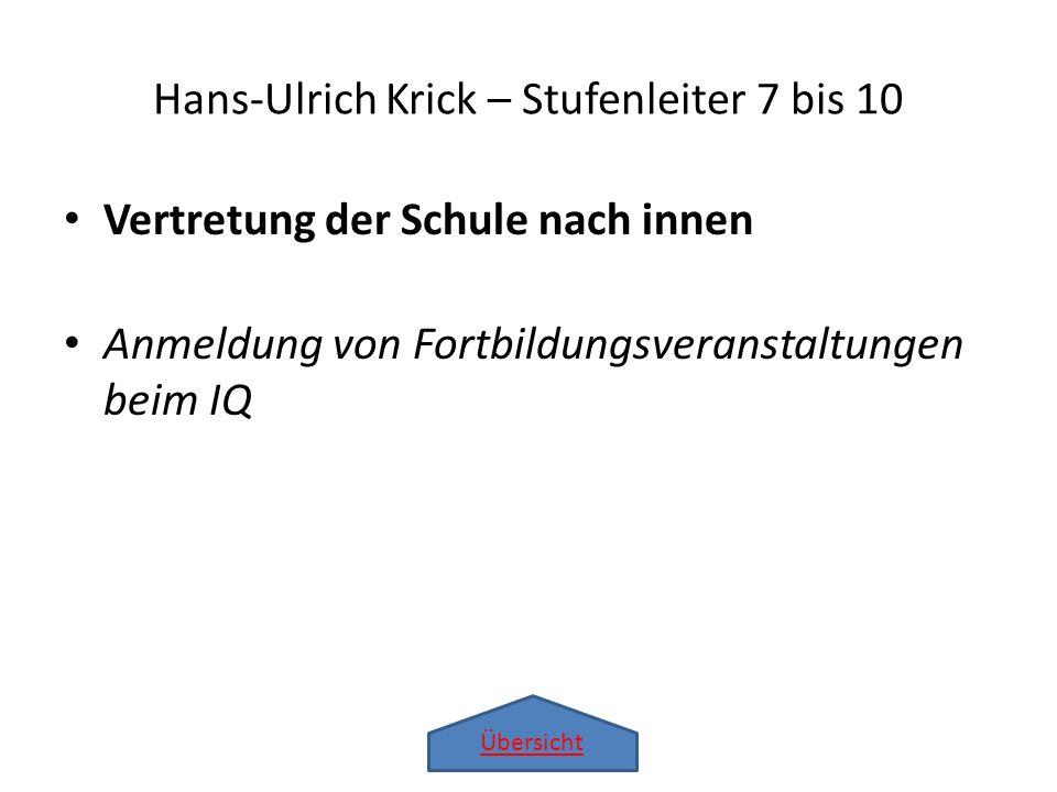 Übersicht Vertretung der Schule nach innen Anmeldung von Fortbildungsveranstaltungen beim IQ Hans-Ulrich Krick – Stufenleiter 7 bis 10