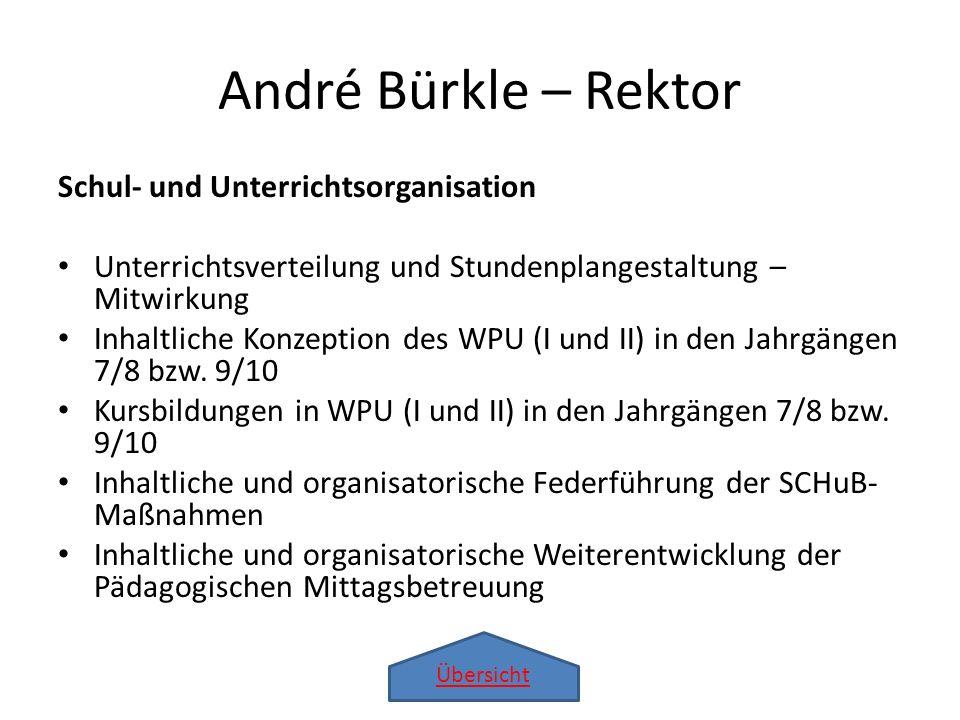 Übersicht André Bürkle – Rektor Schul- und Unterrichtsorganisation Unterrichtsverteilung und Stundenplangestaltung – Mitwirkung Inhaltliche Konzeption