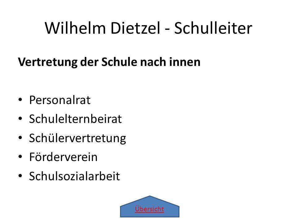 Übersicht Wilhelm Dietzel - Schulleiter Vertretung der Schule nach innen Personalrat Schulelternbeirat Schülervertretung Förderverein Schulsozialarbei