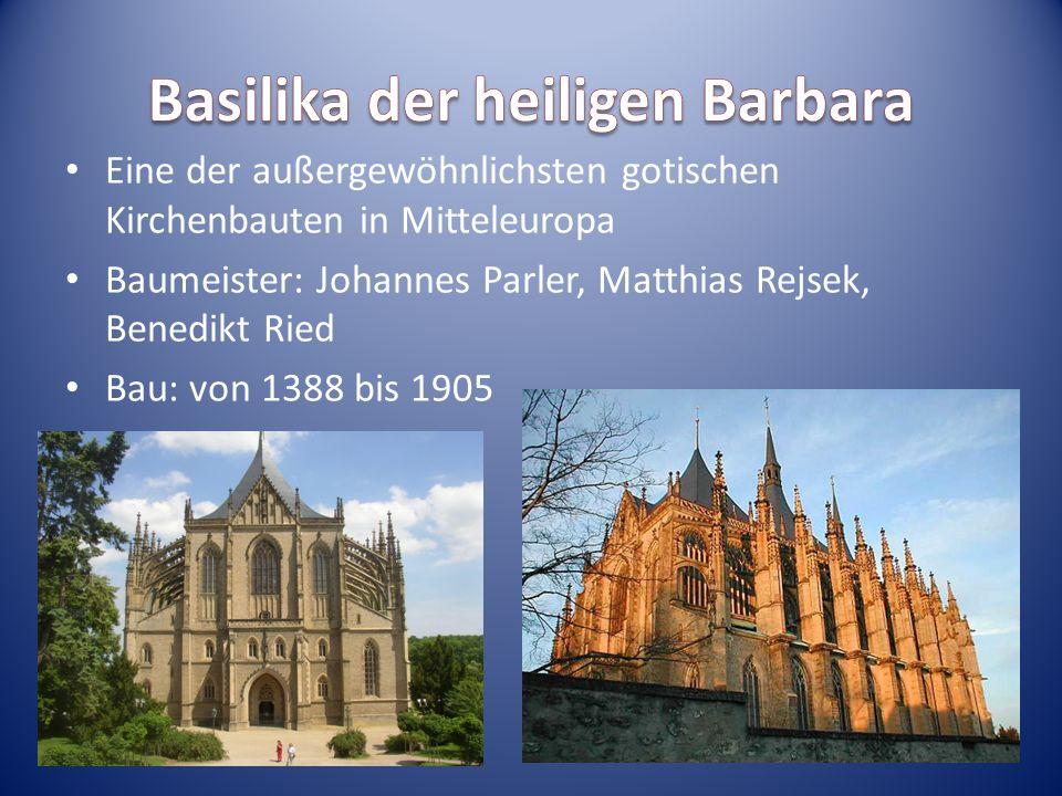Eine der außergewöhnlichsten gotischen Kirchenbauten in Mitteleuropa Baumeister: Johannes Parler, Matthias Rejsek, Benedikt Ried Bau: von 1388 bis 190
