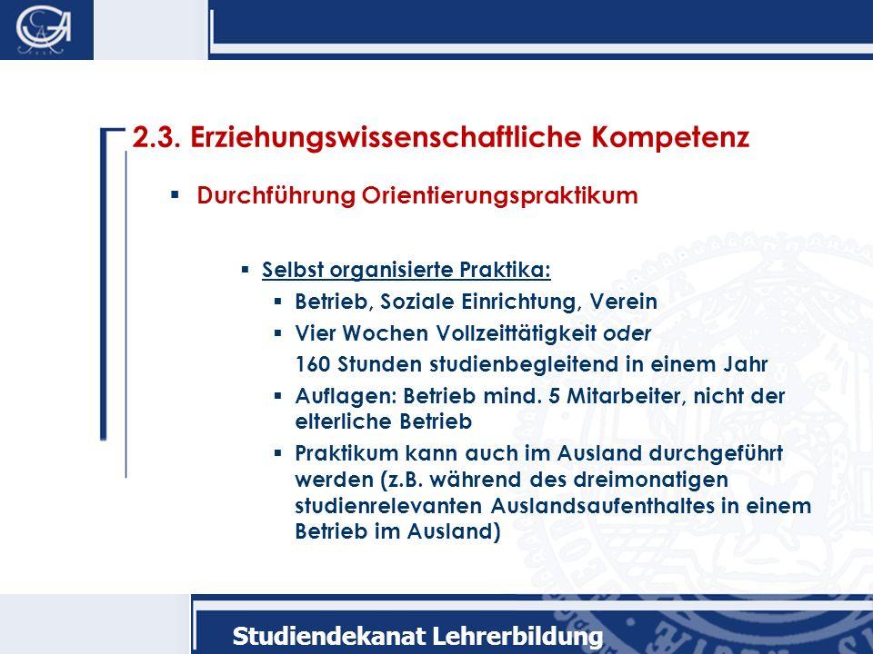 Studiendekanat Lehrerbildung 2.3.