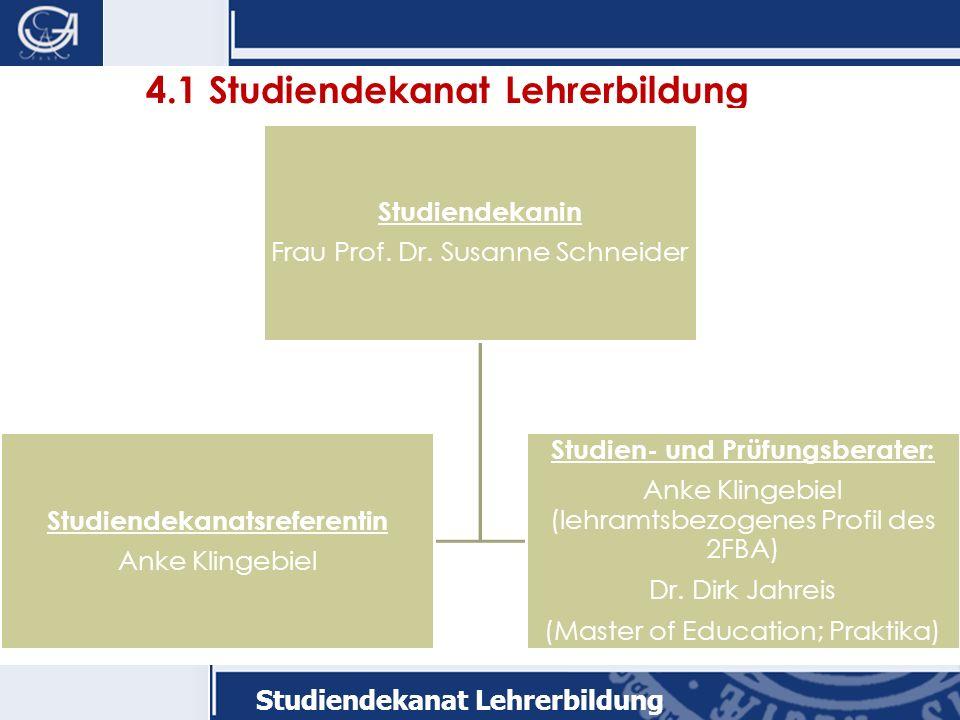 Studiendekanat Lehrerbildung 4.1 Studiendekanat Lehrerbildung Studiendekanin Frau Prof.