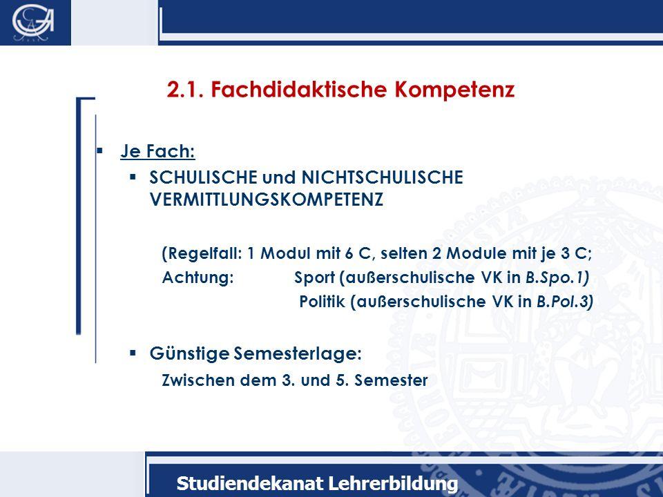 Studiendekanat Lehrerbildung 2.1.