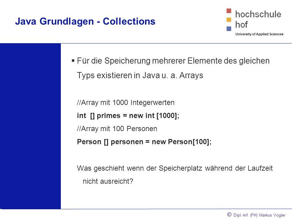 © Dipl.-Inf. (FH) Markus Vogler University of Applied Sciences Java Grundlagen - Collections Für die Speicherung mehrerer Elemente des gleichen Typs e