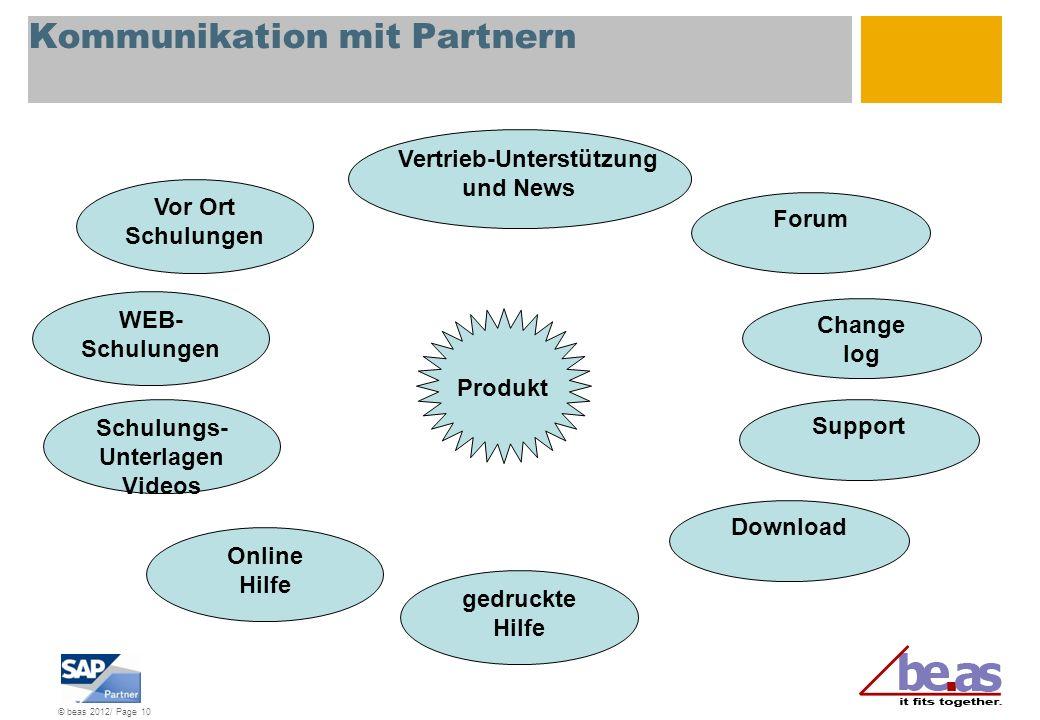 © beas 2012/ Page 10 Kommunikation mit Partnern Vor Ort Schulungen Vertrieb-Unterstützung und News Forum WEB- Schulungen Schulungs- Unterlagen Videos