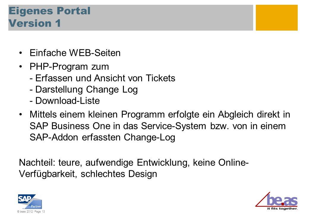 © beas 2012/ Page 13 Eigenes Portal Version 1 Einfache WEB-Seiten PHP-Program zum - Erfassen und Ansicht von Tickets - Darstellung Change Log - Downlo
