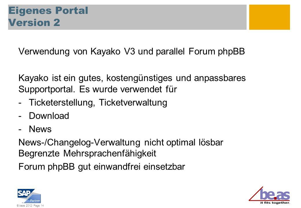 © beas 2012/ Page 14 Eigenes Portal Version 2 Verwendung von Kayako V3 und parallel Forum phpBB Kayako ist ein gutes, kostengünstiges und anpassbares