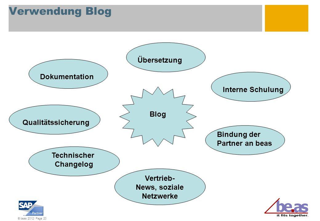 © beas 2012/ Page 20 Verwendung Blog Dokumentation Qualitätssicherung Technischer Changelog Vertrieb- News, soziale Netzwerke Übersetzung Interne Schu