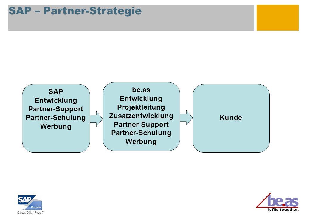 © beas 2012/ Page 8 be.as – Partner-Strategie SAP Entwicklung Partner-Support Partner-Schulung Werbung Partner vor Ort Zusatz-Entwicklung Projektleitung Installation Schulung Kunde be.as Entwicklung Partner-Support Partner-Schulung Werbung