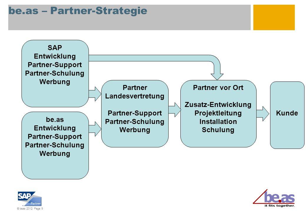 © beas 2012/ Page 9 be.as – Partner-Strategie SAP Entwicklung Partner-Support Partner-Schulung Werbung Partner vor Ort Zusatz-Entwicklung Projektleitu