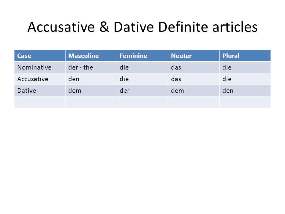 Accusative & Dative Definite articles CaseMasculineFeminineNeuterPlural Nominativeder - thediedasdie Accusativedendiedasdie Dativedemderdemden