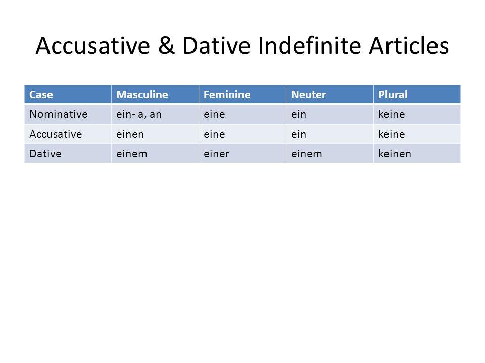 Accusative & Dative Indefinite Articles CaseMasculineFeminineNeuterPlural Nominativeein- a, aneineeinkeine Accusativeeineneineeinkeine Dativeeinemeine