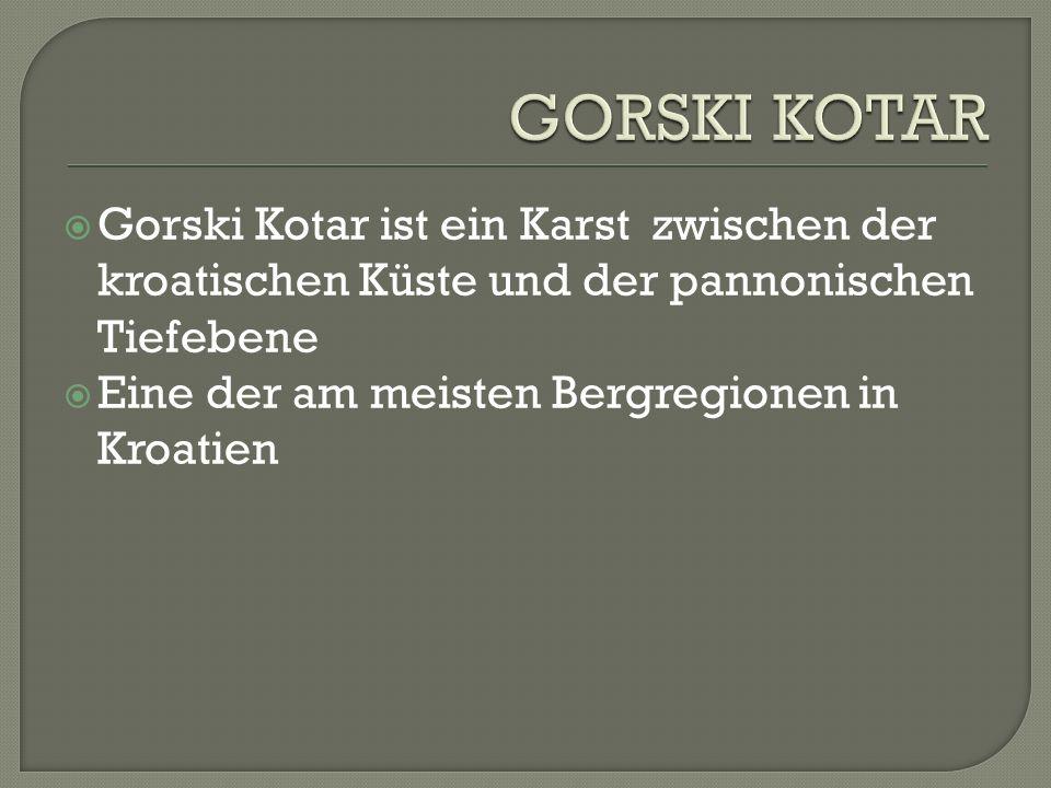 Gorski Kotar ist ein Karst zwischen der kroatischen Küste und der pannonischen Tiefebene Eine der am meisten Bergregionen in Kroatien