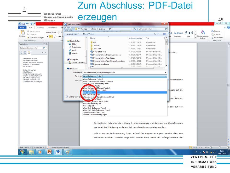 Zum Abschluss: PDF-Datei erzeugen 45