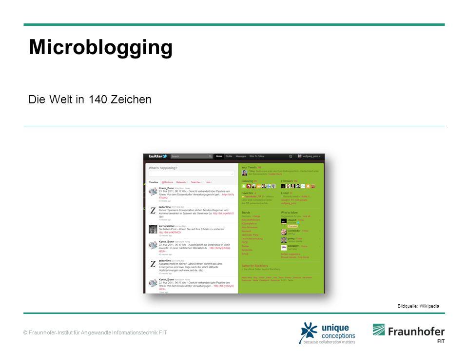 © Fraunhofer-Institut für Angewandte Informationstechnik FIT Microblogging Die Welt in 140 Zeichen Bildquelle: Wikipedia