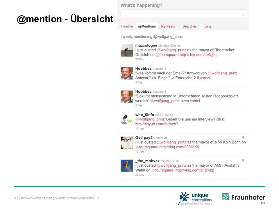 © Fraunhofer-Institut für Angewandte Informationstechnik FIT @mention - Übersicht