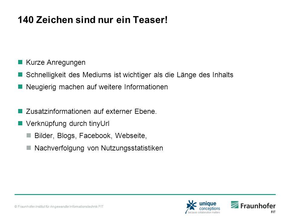 © Fraunhofer-Institut für Angewandte Informationstechnik FIT 140 Zeichen sind nur ein Teaser! Kurze Anregungen Schnelligkeit des Mediums ist wichtiger