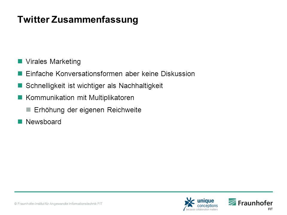 © Fraunhofer-Institut für Angewandte Informationstechnik FIT Twitter Zusammenfassung Virales Marketing Einfache Konversationsformen aber keine Diskuss