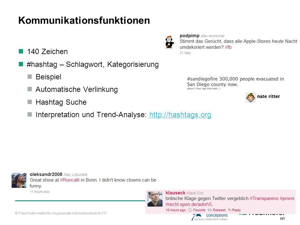 © Fraunhofer-Institut für Angewandte Informationstechnik FIT Kommunikationsfunktionen 140 Zeichen #hashtag – Schlagwort, Kategorisierung Beispiel Automatische Verlinkung Hashtag Suche Interpretation und Trend-Analyse: http://hashtags.orghttp://hashtags.org
