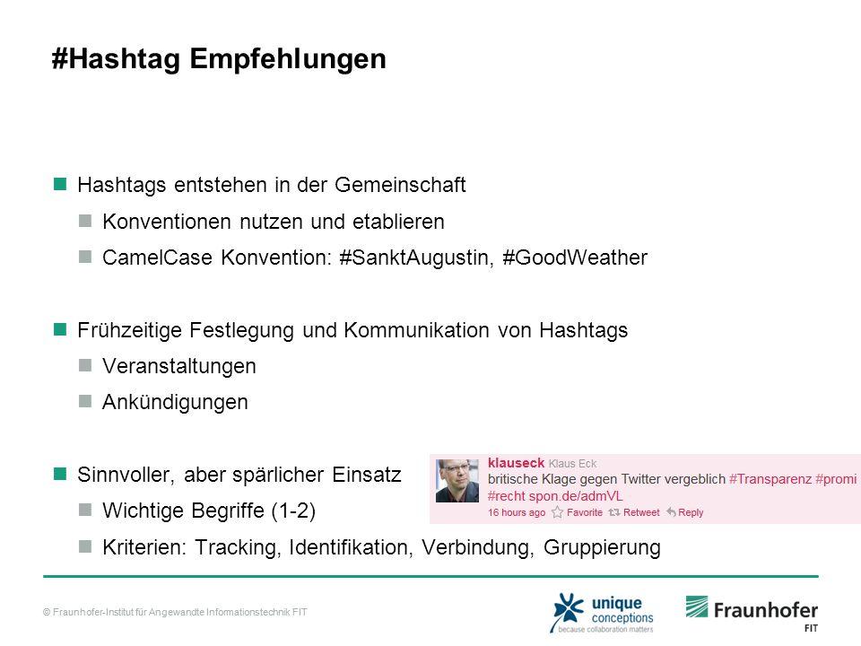 © Fraunhofer-Institut für Angewandte Informationstechnik FIT #Hashtag Empfehlungen Hashtags entstehen in der Gemeinschaft Konventionen nutzen und etab