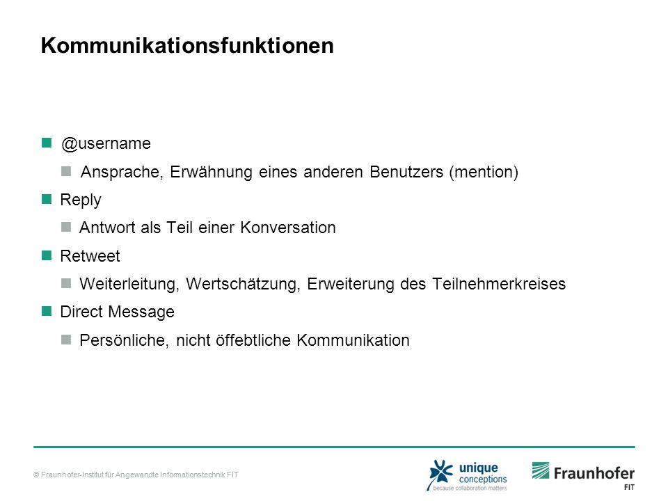 © Fraunhofer-Institut für Angewandte Informationstechnik FIT Kommunikationsfunktionen @username Ansprache, Erwähnung eines anderen Benutzers (mention)