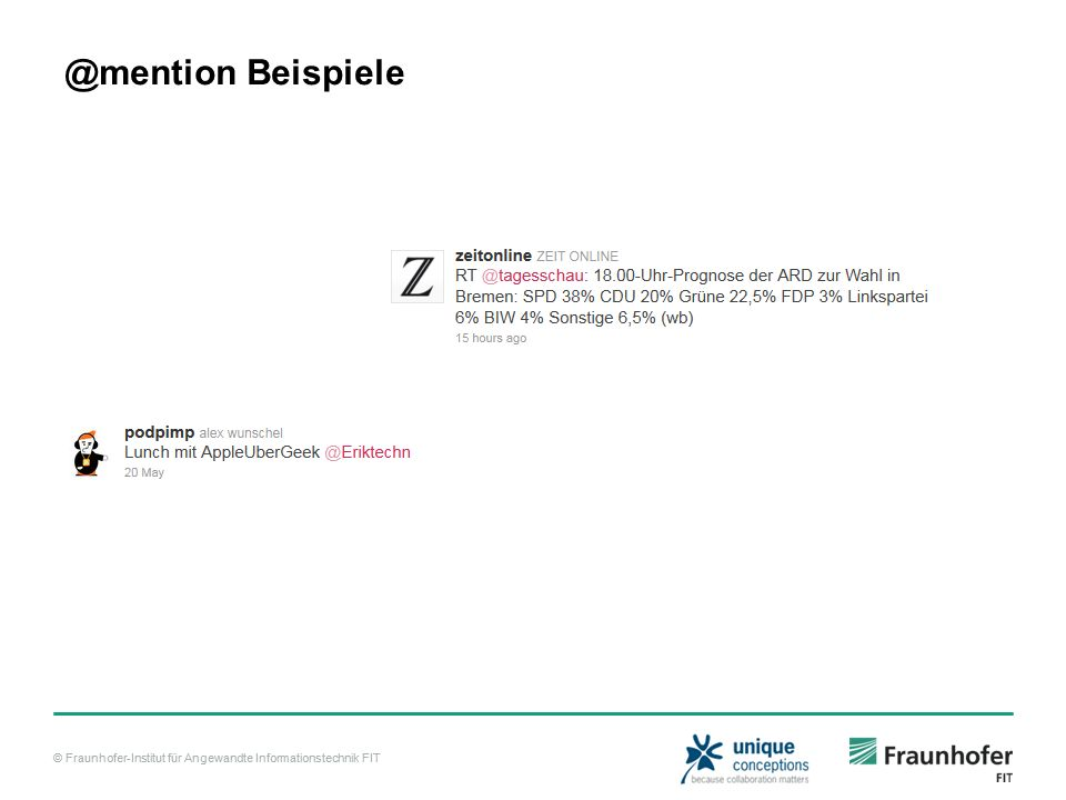 © Fraunhofer-Institut für Angewandte Informationstechnik FIT @mention Beispiele