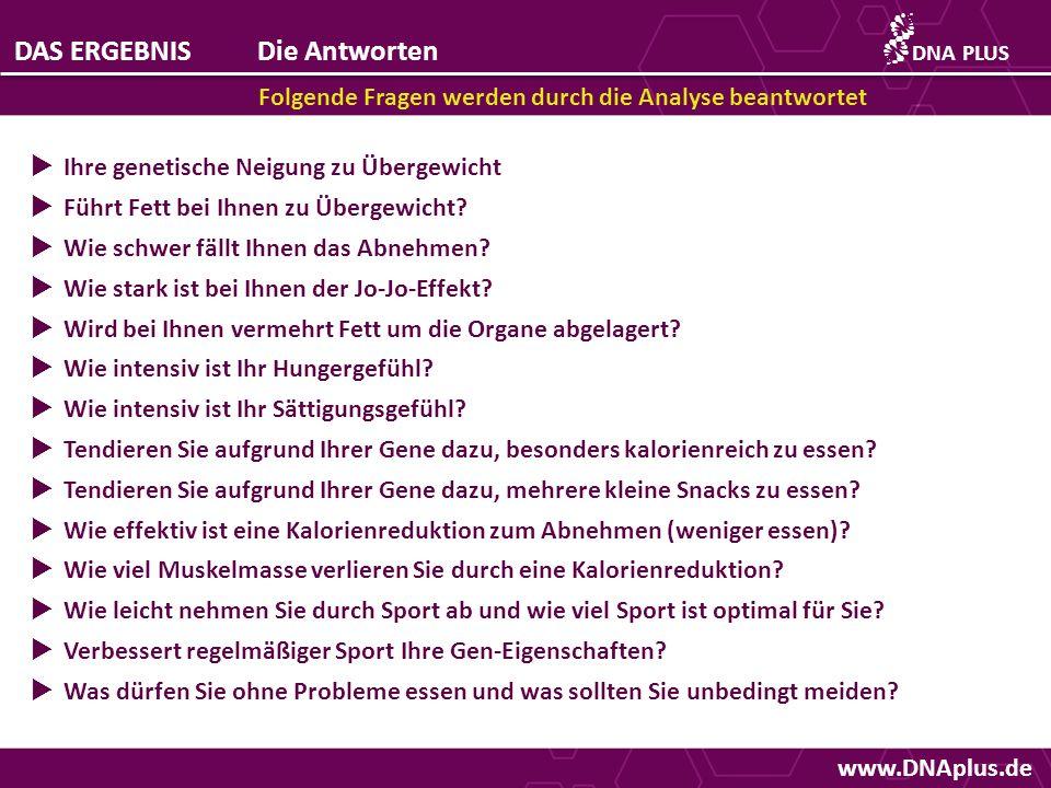 www.DNAplus.de DAS ERGEBNISDie Antworten Folgende Fragen werden durch die Analyse beantwortet DNAPLUS Ihre genetische Neigung zu Übergewicht Führt Fet