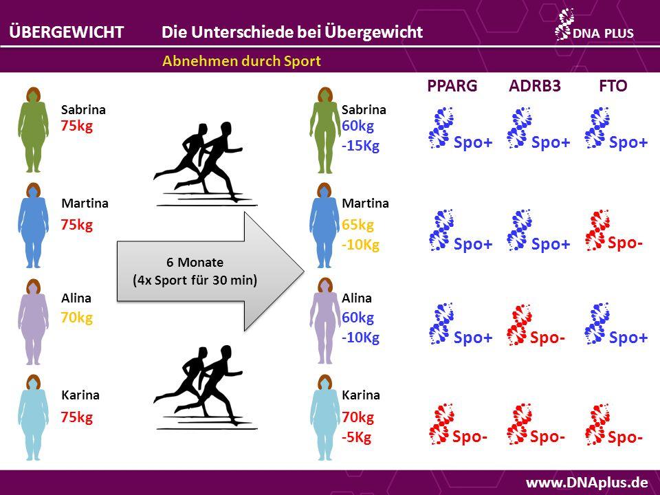 www.DNAplus.de ÜBERGEWICHTDie Unterschiede bei Übergewicht Abnehmen durch Sport DNAPLUS 75kg 70kg 75kg Sabrina Martina Alina Karina 6 Monate (4x Sport für 30 min) 6 Monate (4x Sport für 30 min) Sabrina Martina Alina Karina 60kg -15Kg 65kg -10Kg 60kg -10Kg 70kg -5Kg Sport x2 Sport x4 60kg -15Kg 60kg -15Kg